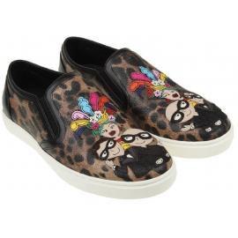 Sneakers slip-on Dolce&Gabbana donna in pelle leopardata