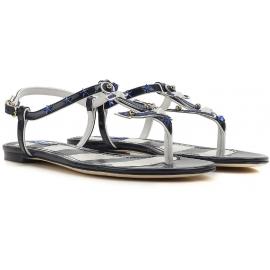 Sandali infradito bassi Dolce&Gabbana in vernice Blu