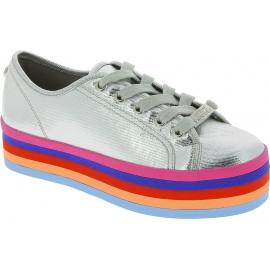 Steve Madden Sneakers basse platform arcobaleno da donna in tela argentata