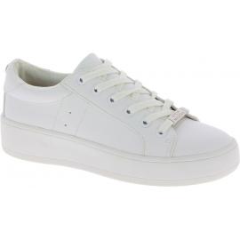 Steve Madden Sneakers basse platform fashion da donna in finta pelle bianca