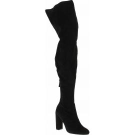 Steve Madden Stivali sopra al ginocchio tacco donna in tessuto camoscio nero