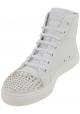 Gucci Stivaletti alla caviglia borchiati con lacci donna pelle vitello bianca