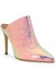Paris Texas Sabot a punta con tacco da donna in pelle laminata rosa chiaro