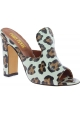Paris Texas Sabot con tacco alto da donna in pelle leopardata made in Italy
