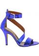 Paris Texas Sandali tacco alto con fibbia da donna in pelle di pitone blu