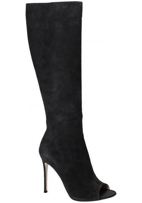 Stivali con tacco Gianvito Rossi in camoscio Grigio scuro