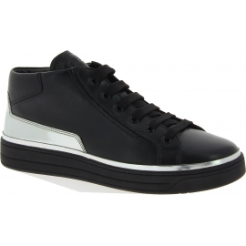 Prada Sneakers alte fashion da donna in pelle di vitello nera argentata