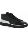Prada Sneakers alte fashion da donna in pelle di vitello nera argentata