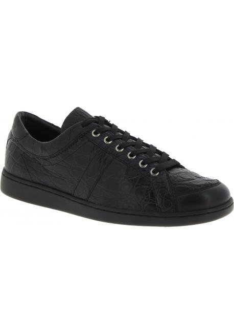 Dolce&Gabbana Sneakers da uomo in pelle di caimano nera stampa coccodrillo