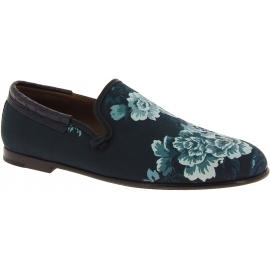 Dolce&Gabbana Mocassini fashion da uomo in pelle di coccodrillo blu azzurro