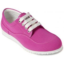 Hogan Sneakers basse fashion con lacci da donna in tela rosa suola bianca