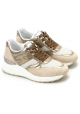 Hogan Scarpe sneakers fashion da donna in pelle vernice e tessuto beige