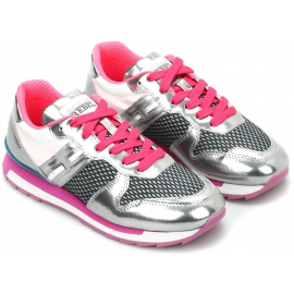 Hogan Sneakers basse bicolore da donna fashion pelle tessuto metallizzato rosa