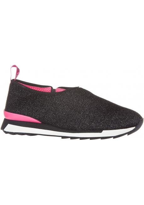 Hogan Sneakers senza lacci slip-on da donna in tessuto nero con glitter