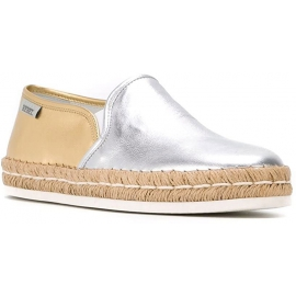 Hogan Espadrillas slip on bicolore fashion da donna in pelle argento oro