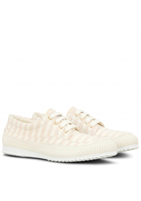 Hogan Sneakers basse con lacci fashion da donna a strisce in tela beige