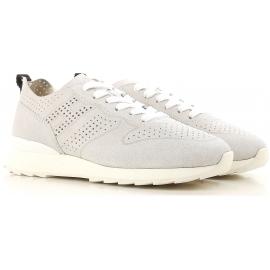 Hogan Scarpe sneakers fashion da donna con lacci in pelle di camoscio platino