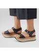 Hogan Sandali fashion con zeppa plateau da donna in pelle nera con fibbie