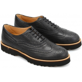 Hogan Scarpe francesine brogues con lacci da donna in pelle nera made in Italy