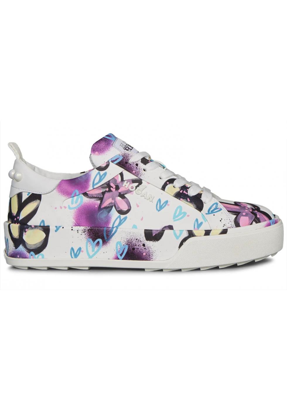 Hogan Sneakers da donna in pelle multicolore stampa fiori cuori ...