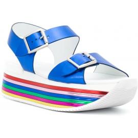 Hogan Sandali con zeppa arcobaleno da donna con fibbie in pelle laminata blu