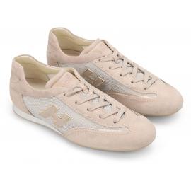 Hogan Sneakers basse fashion da donna con lacci in pelle tessuto rosa chiaro