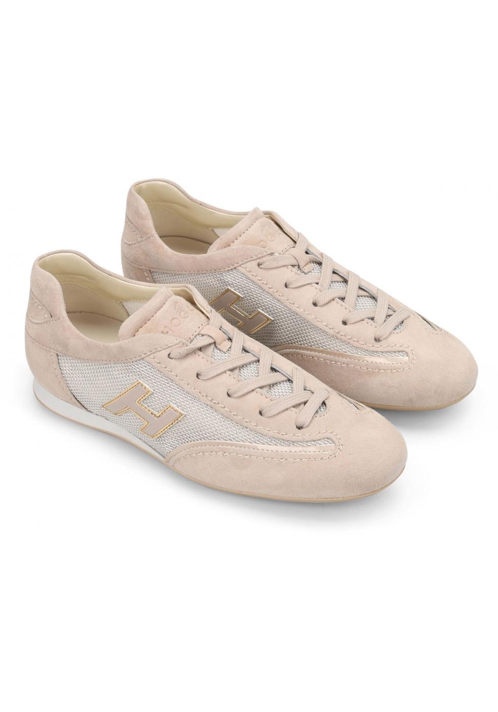 Hogan Sneakers Basse Fashion Da Donna Con Lacci In Pelle Tessuto Rosa Chiaro Italian Boutique
