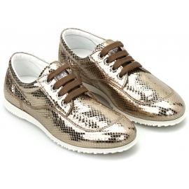 Hogan Sneakers basse da donna con lacci in pelle di vitello laminata platino