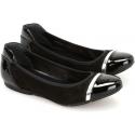 Hogan Ballerine fashion da donna in pelle luca nera con fascetta argentata