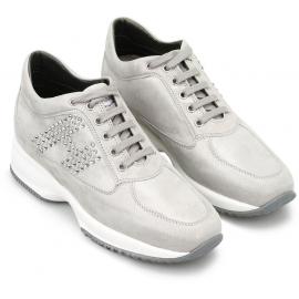 Hogan Sneakers da donna fashion in pelle di camoscio grigio chiaro con strass