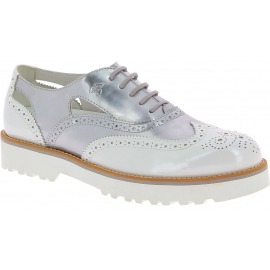 Hogan Scarpe stringate brogues fashion da donna in vernice argento bianca