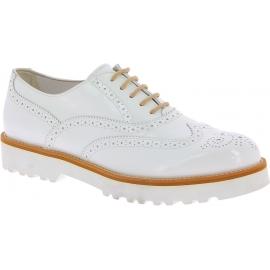 Hogan Scarpe stringate brogues fashion donna vernice bianca punta arrotondata