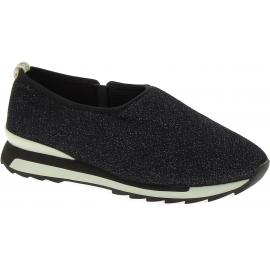 Hogan Sneakers basse slip-on fashion da donna in tessuto nero con brillantini