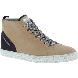 Hogan Sneakers alte fashion da donna pelle di camoscio beige punta arrotondata