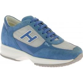 Hogan Sneakers fashion bicolore da donna in pelle e tessuto azzurro e grigio