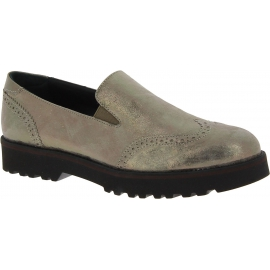 Hogan Scarpe slip-on fashion da donna in pelle di vitello laminato grigia