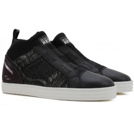 Sneakers slip-on Hogan Rebel donna in pelle nero
