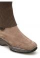 Stivali donna Hogan suola interactive in scamosciato e lana taupe