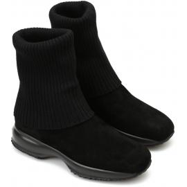 Stivali donna Hogan suola interactive in scamosciato e lana nero