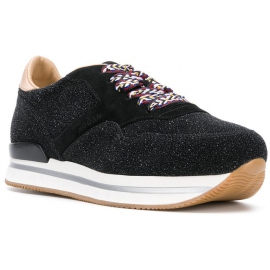 Sneakers a zeppa donna Hogan in pelle nera con brillantini
