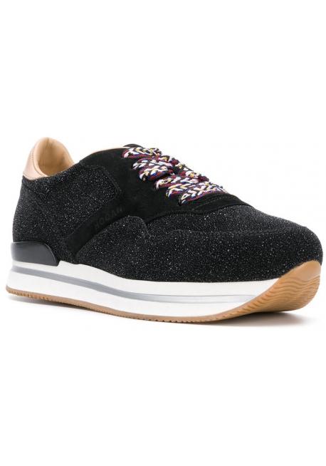 Sneakers a zeppa donna Hogan in pelle nera con brillantini