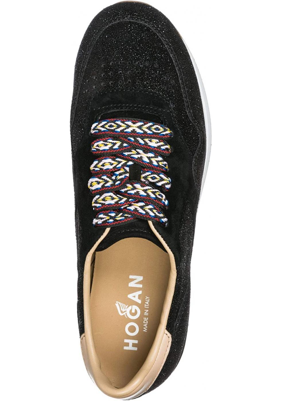 Sneakers a zeppa donna Hogan in pelle nera con brillantini ...
