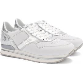 Sneakers a zeppa donna Hogan in pelle bianco e argento