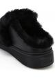 Ciabatte invernali donna Hogan in pelle e pelliccia nero
