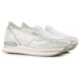 Sneakers elasticizzate donna Hogan a zeppa in pelle argento