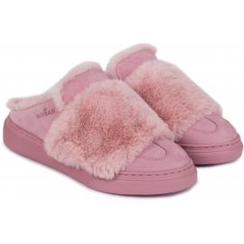 Ciabatte invernali donna Hogan in pelle e pelliccia rosa