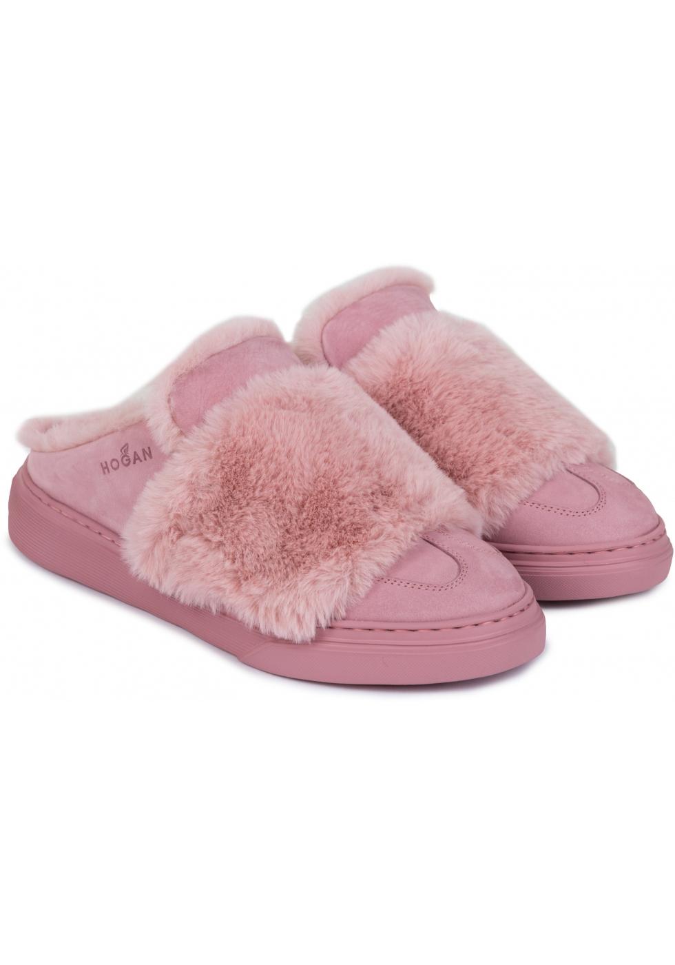 Ciabatte invernali donna Hogan in pelle e pelliccia rosa - Italian ...