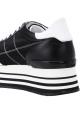 Sneakers a zeppa donna Hogan in pelle e tessuto nero
