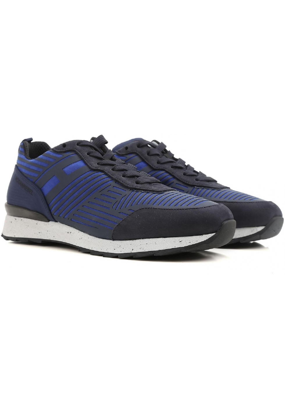 best loved 6d603 983e9 Sneakers Hogan Rebel uomo in pelle e tessuto blu - Italian ...