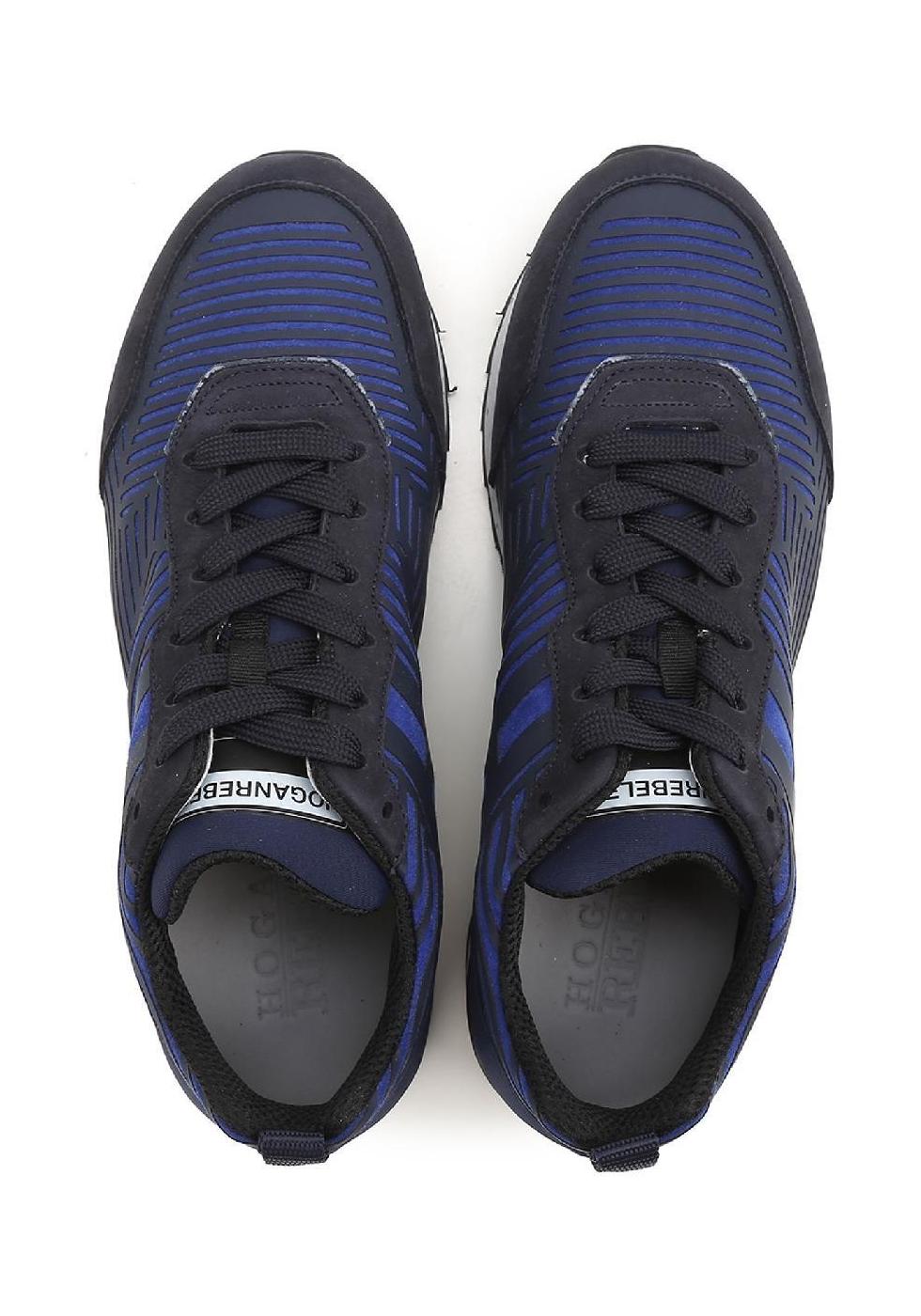 Sneakers Hogan Rebel uomo in pelle e tessuto blu - Italian Boutique